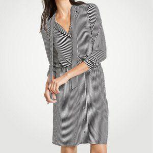 Tall Stripe Tie Neck Shirtdress - Ann Taylor